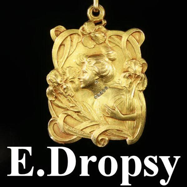 Magnificent Art Nouveau pendant signed E.Dropsy with refined diamond ...