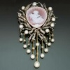 Antique Victorian jewelry brooch with stone cameo angel and diamonds and pearls