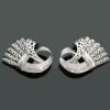 Magnificent white gold estate Retro double clips with diamonds