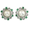 Vintage pearl diamond clip-on earrings emerald white gold