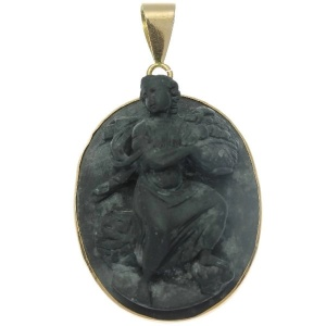 Typical lavastone high relief cameo gold pendant with mythological motif