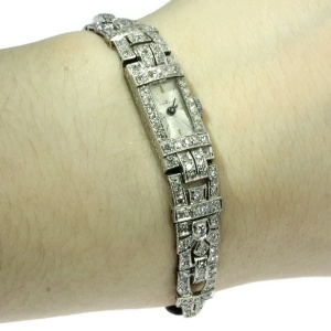 Impressive Art Deco platinum diamond ladies watch loaded with diamonds