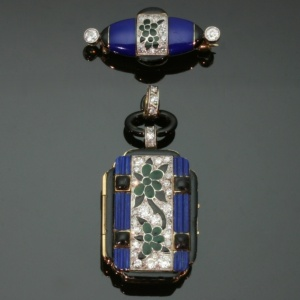 Art Deco blue enamel Lady watch, stunning piece