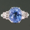 Estate 6 carat Ceylon sapphire engagement ring diamond platinum