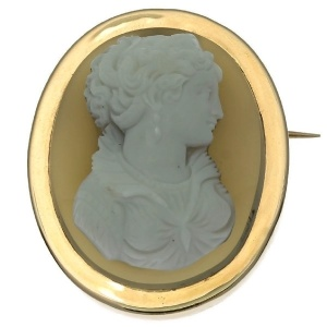 French Victorian hard stone cameo brooch, pendant