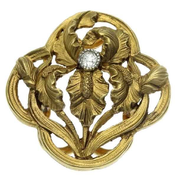 Charming French Art Nouveau gold button clip iris motif with diamond