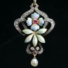 Austria-Hungarian late Victorian early Art Nouveau diamond and enamel pendant
