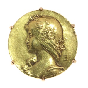 Antique gold pin Lady face signed Emile Vernier France