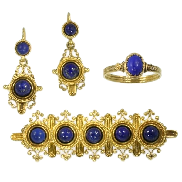 Neo-etruscan revival parure ring brooch earrings filigree granules lapis lazuli