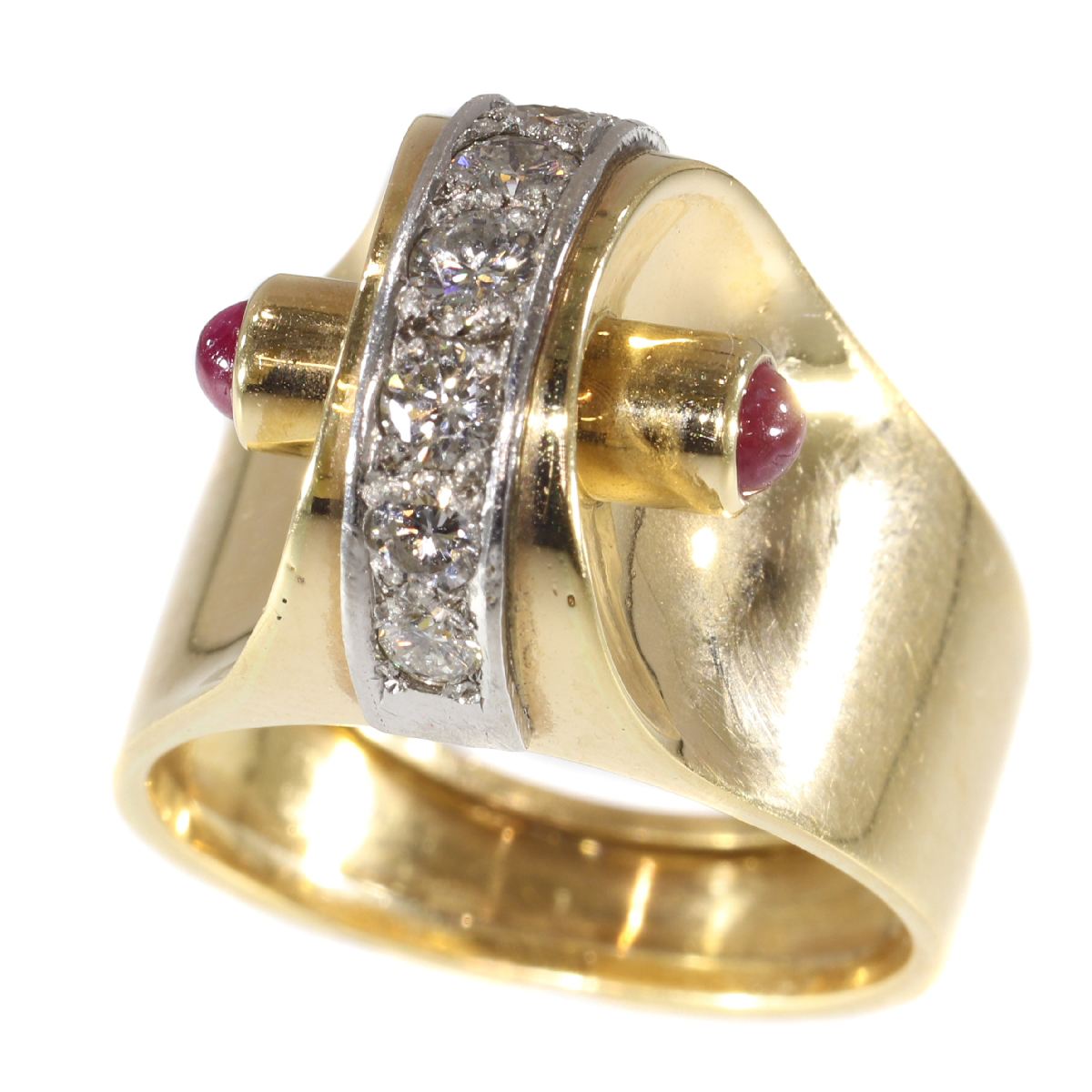 Extrovert and stylish red gold vintage Art Retro ring with diamonds and rubies