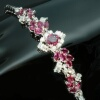 Estate ruby diamond flexible bracelet 18kt white gold