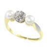 Three stones estate engagement ring diamond pearl