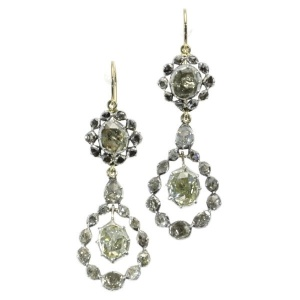 Late Georgian early Victorian long pendant rose cut diamond earrings