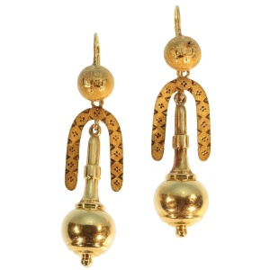 Victorian gold dangle earrings original box