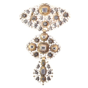 18th Century filigree gold cross pendant table cut diamonds called A la Jeanette