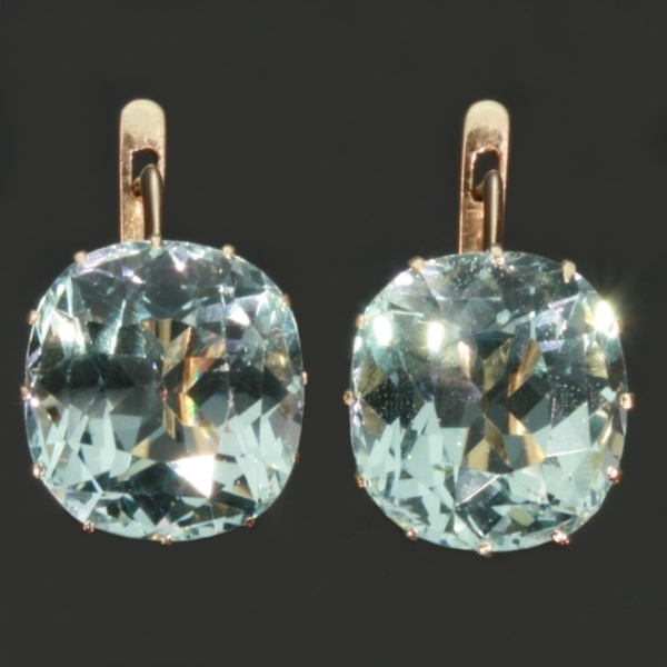 Antique Russian Earrings With 11 Carats Of Untreated Aquamarines