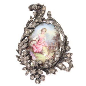 Antique painted miniature enameled pin diamond