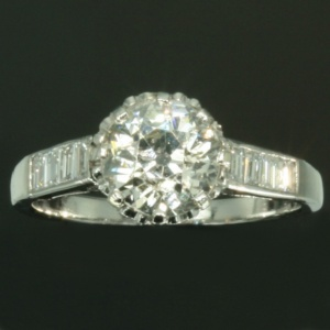 Estate one stone diamond engagement ring platinum
