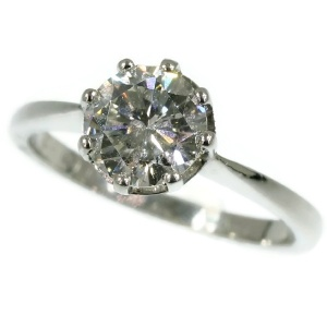 Platinum estate diamond engagement ring or anniversary ring