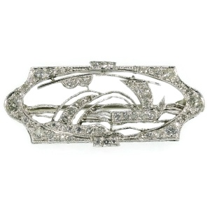 Charming Art Deco platinum diamond set brooch depicting a sailing sail boat