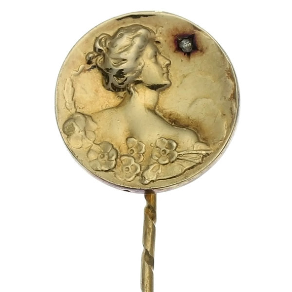 Late Victorian early Art Nouveau stickpin with ladies head