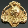 Art Nouveau floral gold pin Lady profile signed Zacha