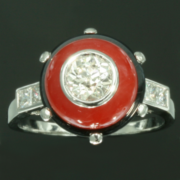 Art Deco blood coral ring diamond black onyx French jewelry