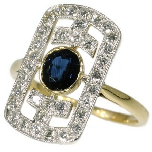 Art Deco Japonistic diamond and sapphire engagement ring