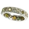French estate platinum eternity band with fancy color diamonds