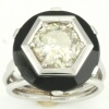 Estate platinum engagement ring with onyx and big old mine brilliant cut diamond