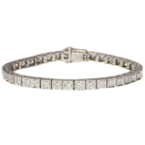 Estate platinum Art Deco diamond tennis bracelet from the fifties