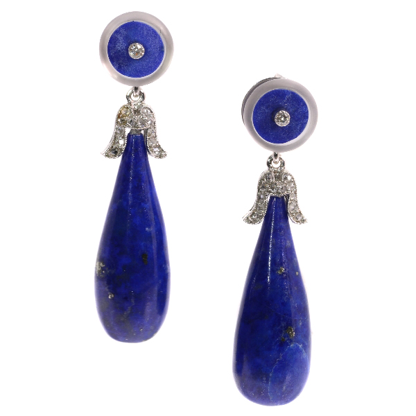 Art Deco diamond and lapis lazuli day time night time earrings