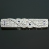 Platinum Art Deco style bar brooch from the fifties covered with diamonds