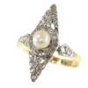 Late Victorian rose cut diamonds ring with pearl