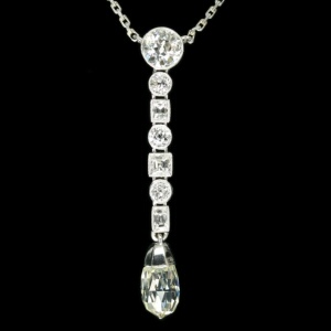 Platinum Art Deco diamond pendant necklace with big briolette cut diamond
