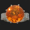Bright fire opal in French Fifties diamond baguettes platinum engagement ring