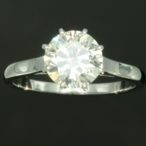 Estate solitaire diamond engagement ring platinum