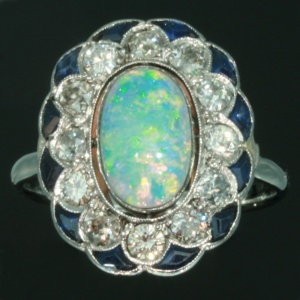 Estate opal engagement ring diamond sapphire platinum