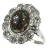 Platinum diamond engagement ring with boulder black opal also called matrix opal
