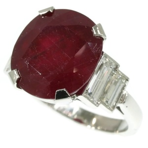 Platinum estate diamond engagement ring with huge ruby of almost 10 carats