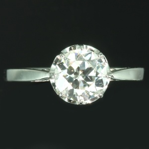 Art Deco platinum one stone diamond engagement ring