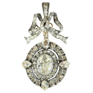 Magnificent Victorian brooch pendant with humungous rose cut diamond