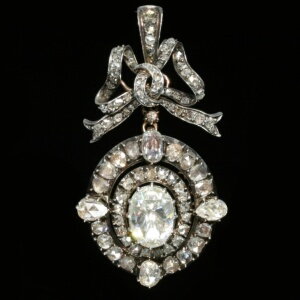 Magnificent Victorian brooch pendant with humunguous rose cut diamond