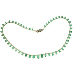 Belle Epoque necklace with emerald drop shapes pearls and diamond closure