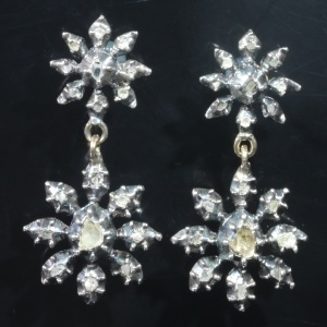 Victorian pendent earrings with rose cut diamonds foil set in gold backed silver