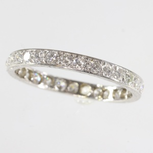 Platinum eternity band from the Fifties set with diamonds