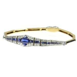 High quality Dutch Art Deco sapphire and diamond bracelet  wrist candy