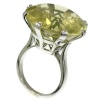 French platinum Art Deco one stone ring with humongous 37 carats lemon citrine