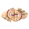 Strong design three tone gold Retro double clip with diamonds and rubies