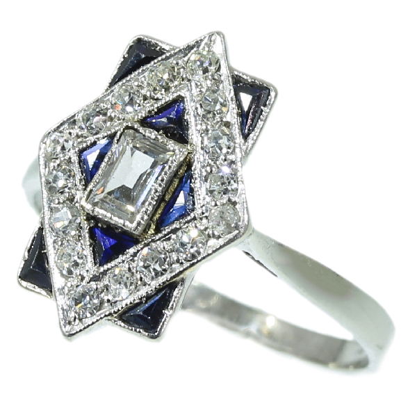 Most charming estate Art Deco engagement ring with diamonds and sapphires